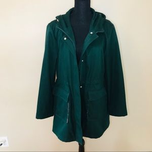 🐘 Kate Spade Hunter Green Hooded Trench Coat